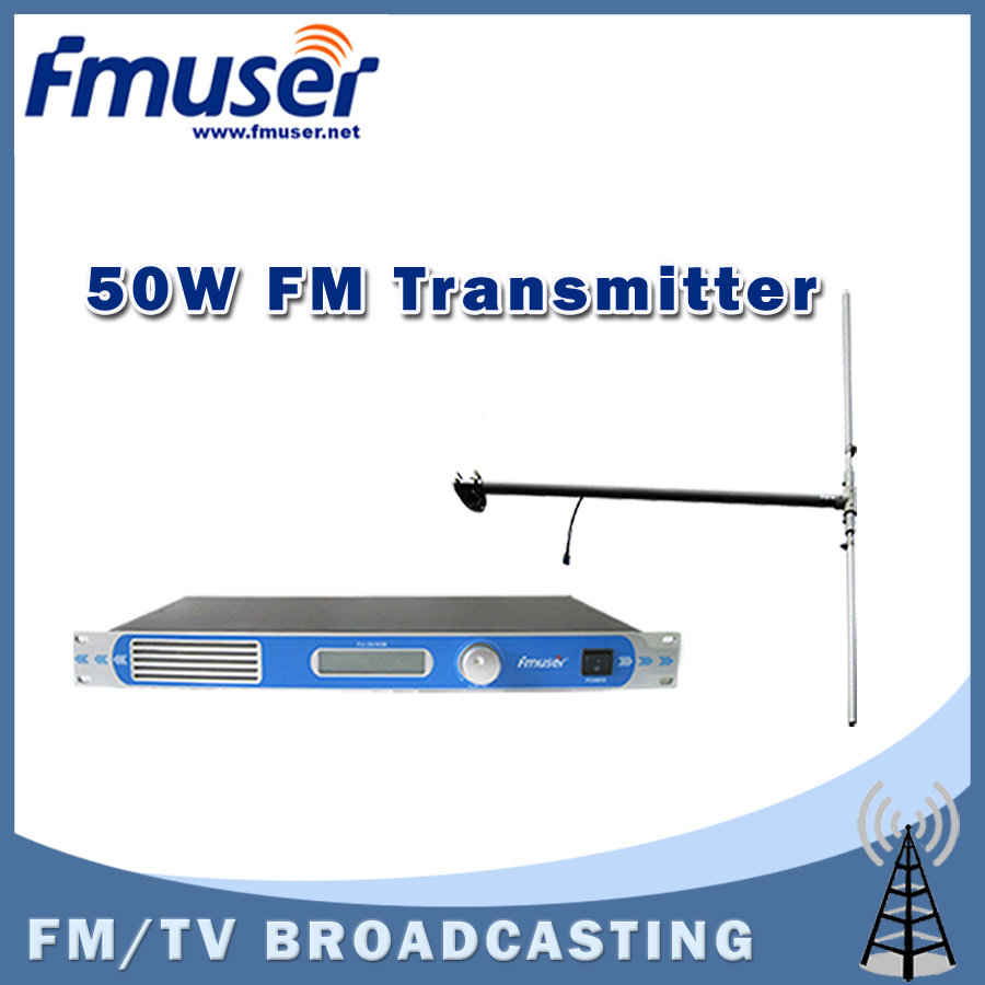 Free shipping FU-30/50B-50W professional FM transmitter 0-50w power adjustable FM radio broadcaster+DP100 DIPOLE antenna Kit(China (Mainland))