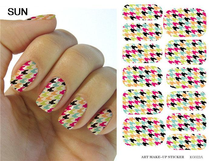 Water Transfer Foils Nail Art Sticker Colored Houndstooth Pattern Designs Manicure Decals Fashion Nail Wraps Decor Tools Patch(China (Mainland))