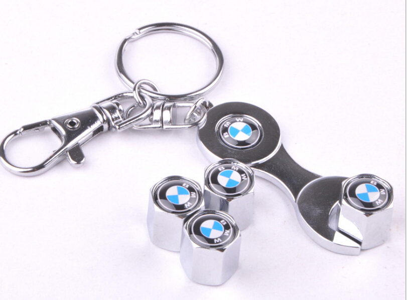 Hot New M Power Car Wheel Tire valve caps for BMW 1er 3er 5er 6er M3 M5 M6 4pcs caps with 1 pcs wrench Key Chains for BMW(China (Mainland))