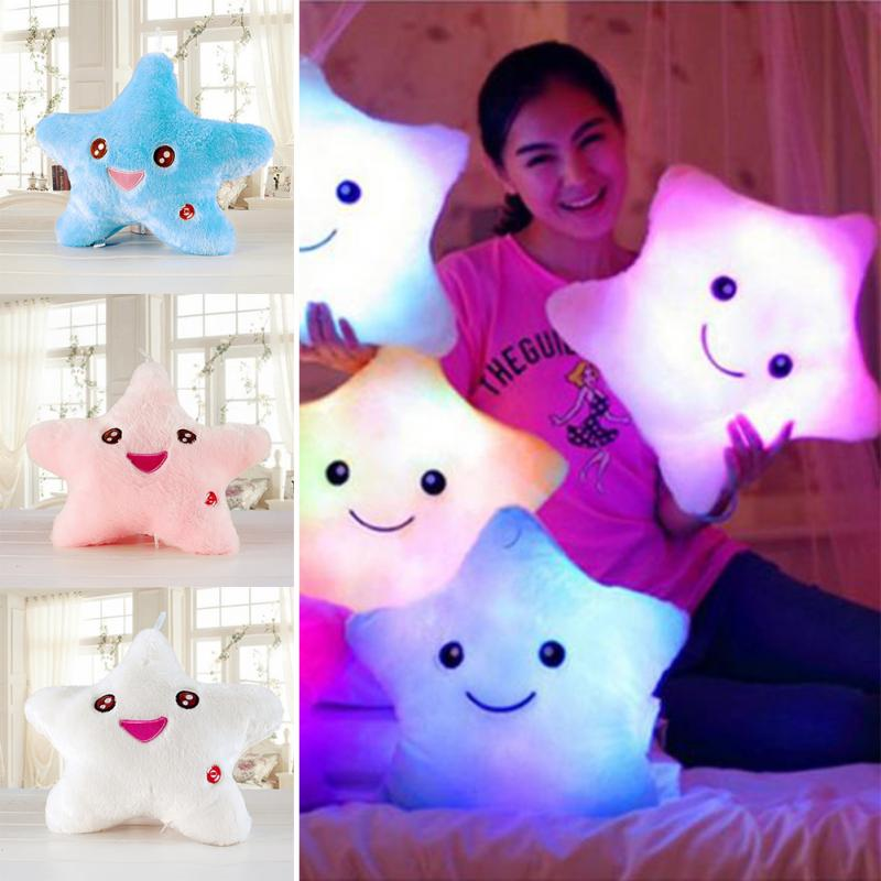 Plush Pillow Battery powered 7 flashing LED light smile star pillow kids Toys Birthday Gift Luminous pillow Led Light Pillow #45