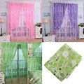 Pink Floral Tulle Voile Door Balcony Window Curtain Drape Panel Sheer Flower Valances Home Room Decor