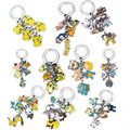 Cartoon pokemon Pocket Monster Mew Shaymin Meowth Psyduck Charmander Entei Suicune Raikou Lugia Eevee family keychain