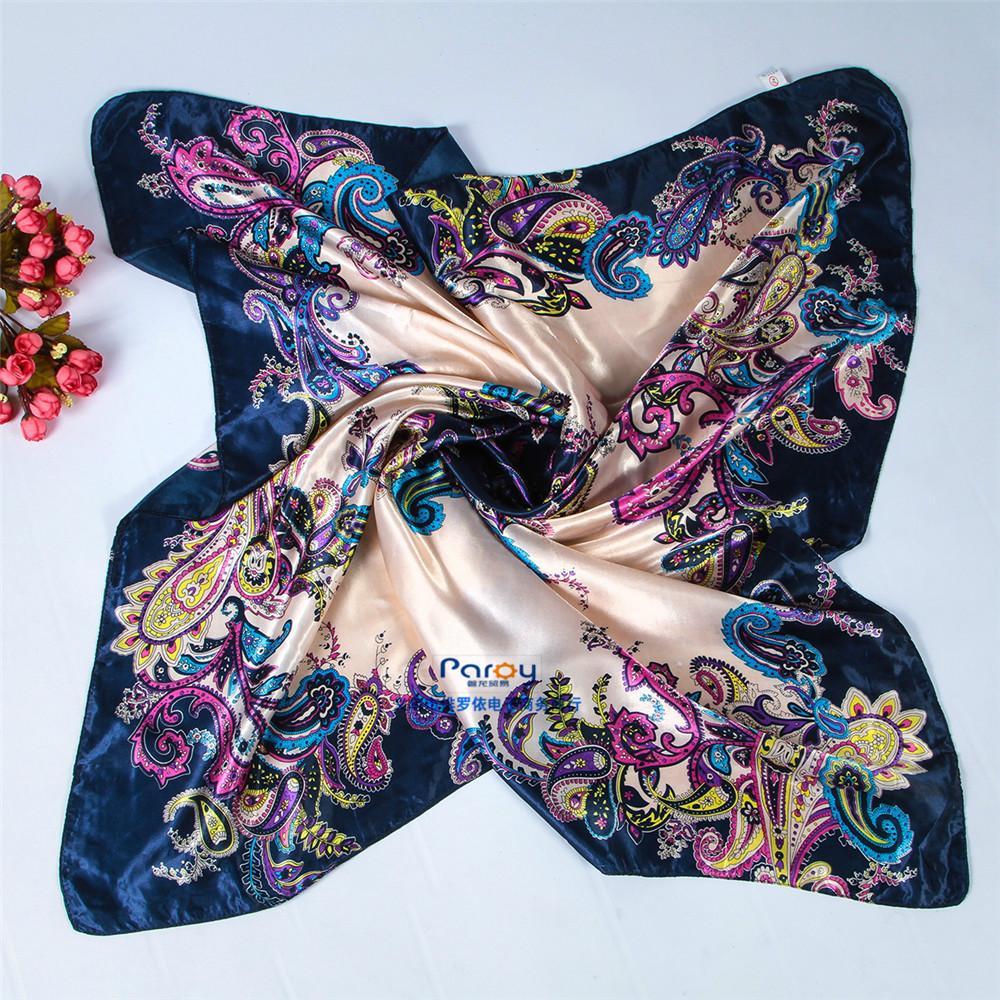Women 90*90cm satin Square Scarf High Quality Imitated Satin Scarves Shawl Hijab 2015 fashion style(China (Mainland))