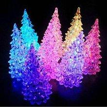 Color Changing Mini Crystal Christmas Decoration LED Night Light Tree Lamp Gift Toys(China (Mainland))