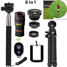 Buy 8in1 12X Zoom Camera Telephoto Lens Phone Telescope 3in1 Clip Lens Kit Bluetooth Wide Angle Fish Eye Macro iPhone Samsung for $15.59 in AliExpress store