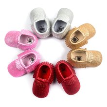 Fashion Baby Girl font b Shoes b font PU Leather Solid with Tassel Toddler Soft Bottom