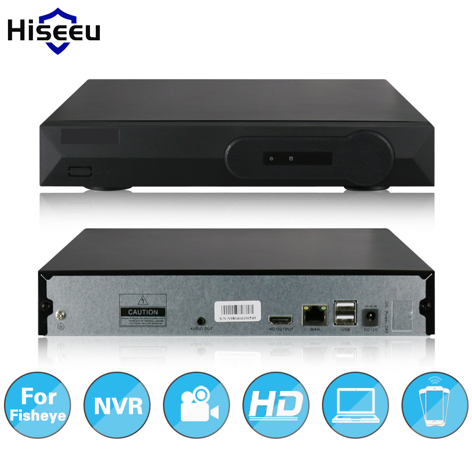 Hiseeu Full HD CCTV 4CH NVR fisheye P2 Camera VGA HDMI output H.264 Network Video Recorder Onvif P2P Digital video recorder
