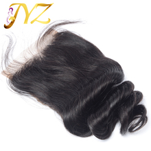 6A Cheap 4×4 lace Closure peruvian loose wave Closure With Baby Hair Free/Middle/3 part Natural color closure DHL Free Shipping