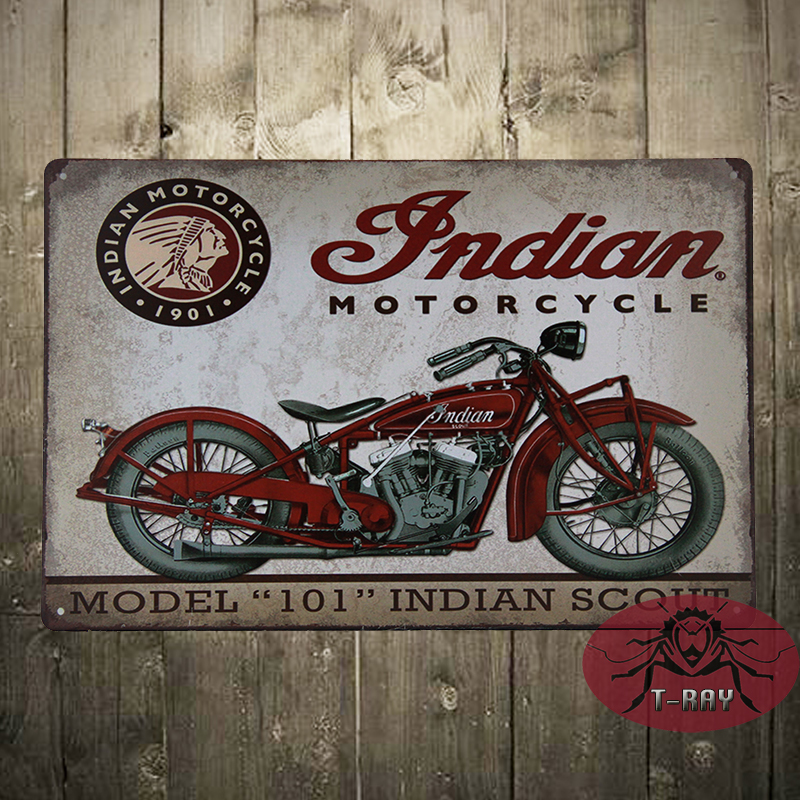 Vintage Tin signs Indian motorcycle plaque art wall decor iron Paintings Bar shop Garage decor 20*30 CM C-12