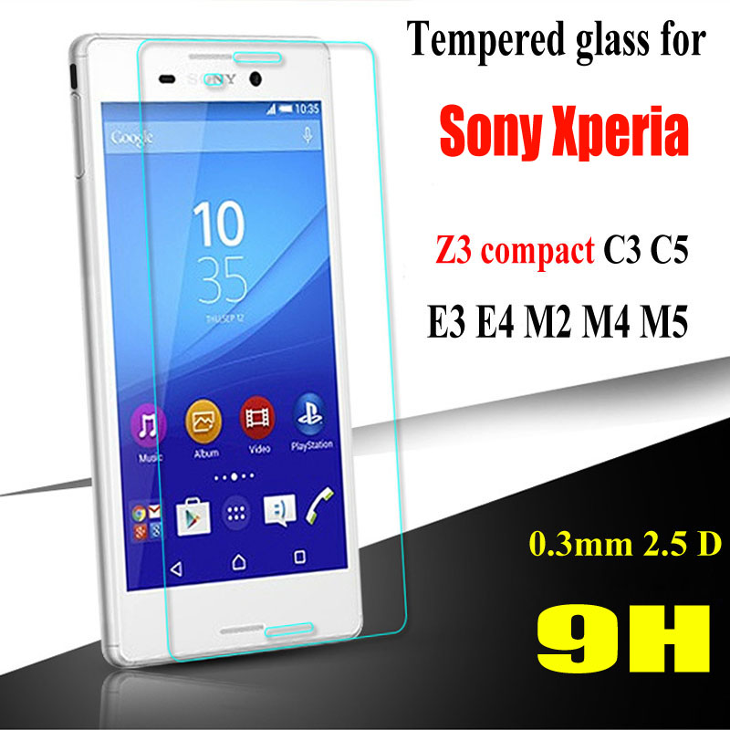 Top Quality 0 3mm 9H Tempered Glass film For Sony Xperia C3 D2533 C5 E5553 E3