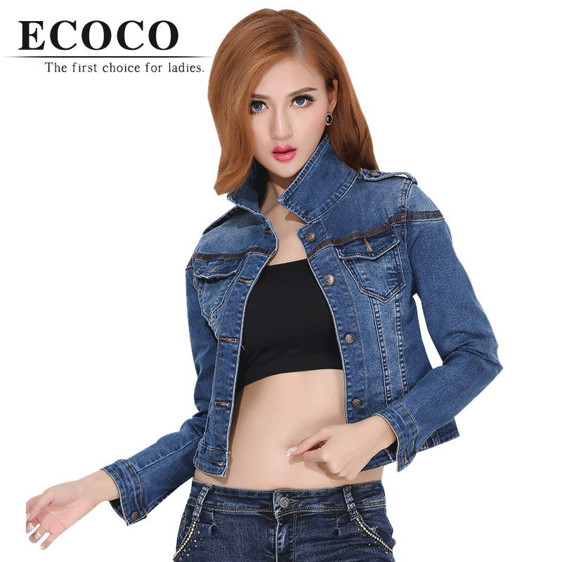 Plus Big Size Turn-down Collar Full Sleeve Short Slim Single Breasted Regular Sexy Denim Solid Jeans Jackets Coat For Ladyd634