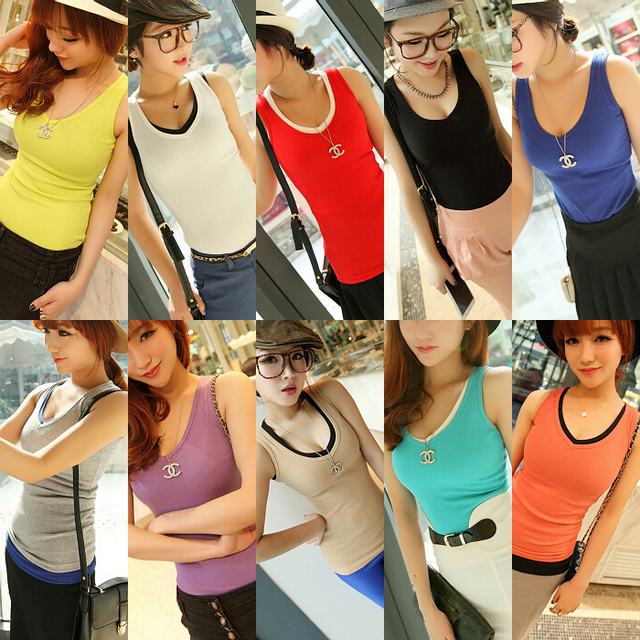 Jingjing 2013 spring women's sexy slim all-match V-neck female basic vest tx1933