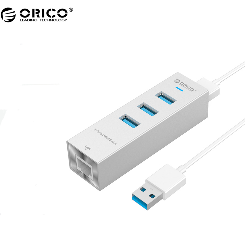 ORICO Aluminum 4 Port USB3.0 Hub with a RJ45 Ethernet Port for Super Pole, Laptop, Desktop and Other Devices (ARH3L-U3)(China (Mainland))