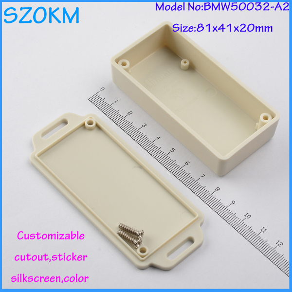 8pcs/lot free shipping abs plastic enclosures with wall mounting ears light grey color customizable manufacture 81x41x20 mm<br><br>Aliexpress