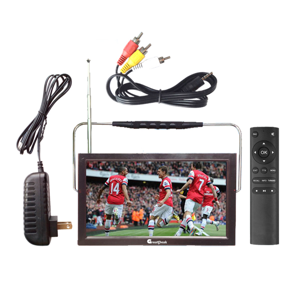12V LED portable digital tv mpeg4 battery powered television dvb t2 chargeable portable tv(China (Mainland))