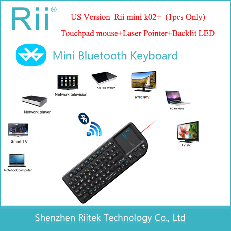 Rii mini K02+ Wireless Bluetooth Keyboard Touchpad mouse Laser Pointer Backlit LED Combo Teclado sem fio for Mini PC Tablet(China (Mainland))