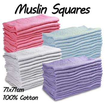 Baby Muslin Squares Cloth 100% Cotton Reusable Nappy Bibs Wipes Burp Cloth