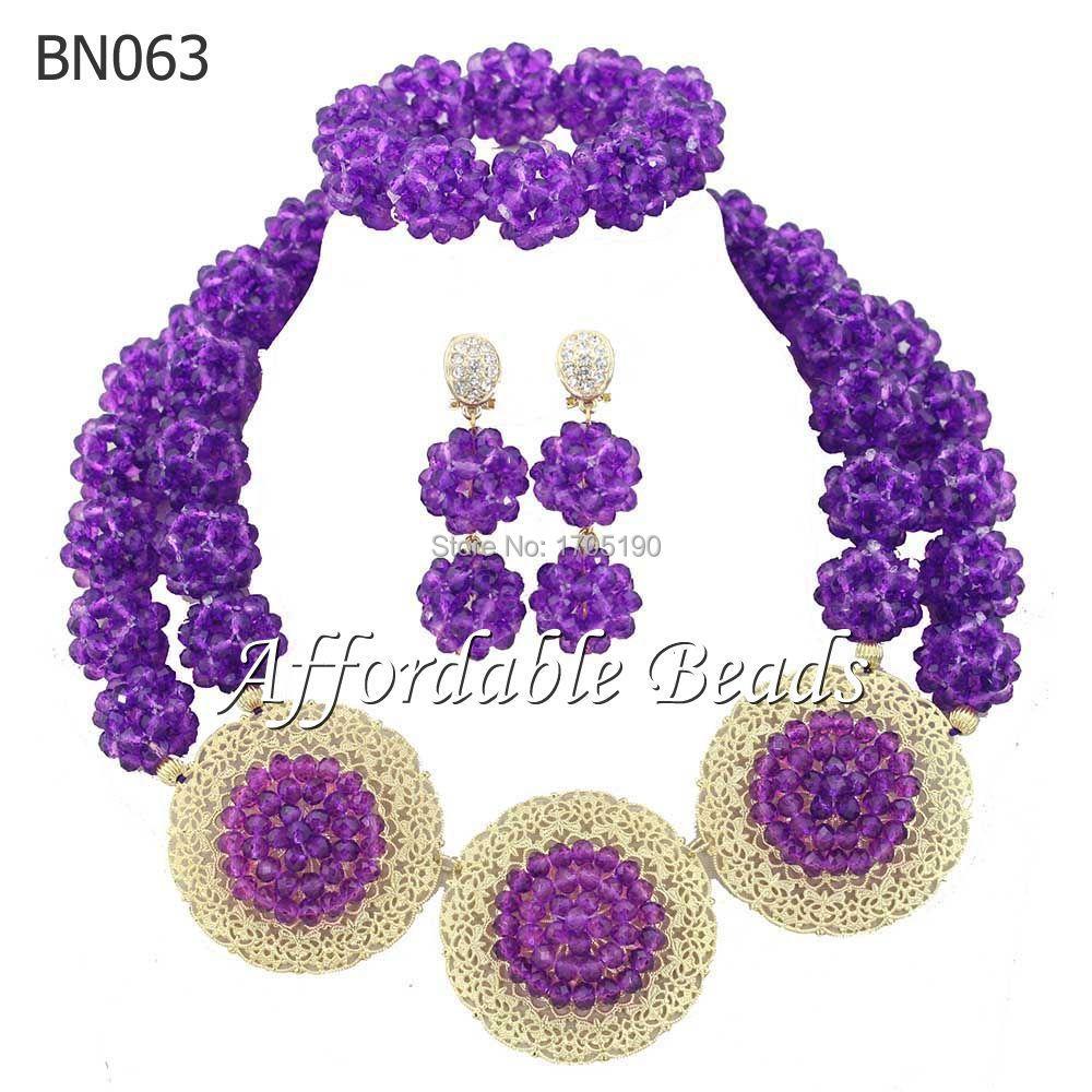 Fashionable Purple Party Jewelry Sets Handmade Bridal Wedding Jewelry Set Free Shipping BN063(China (Mainland))