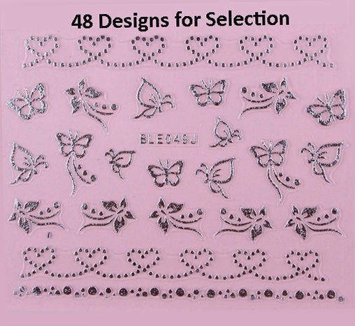 48 Styles Nail Art 3D Sticker Metallic Silver Butterfly Leopard Heart Bows Stars 100 Sheets/Lot Free Shipping(China (Mainland))
