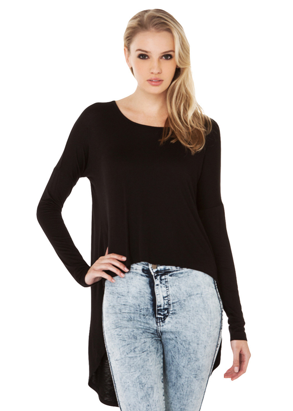 Women 39 s casual scoop neck long sleeve high low hem loose for Scoop neck long sleeve shirt