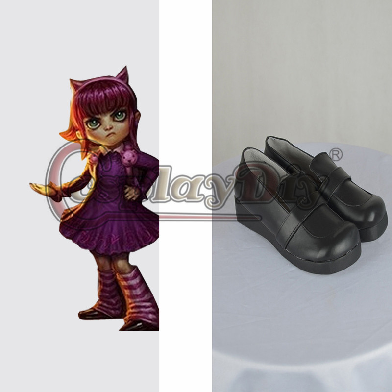 Game LOL Cosplay Shoes Adult Women Annie Black Shoes Lolita Halloween Cosplay Accessories Custom Made(China (Mainland))