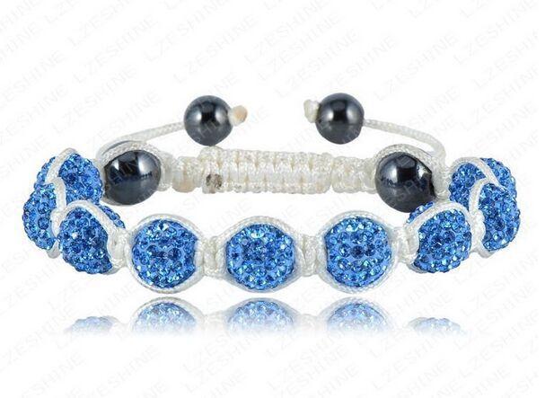 wholesale Shamballa white rope Bracelets&Bangle10mm Handmade full blue Crystal stone Clay Ball beads(9Pcs)women fashion jewerly(China (Mainland))