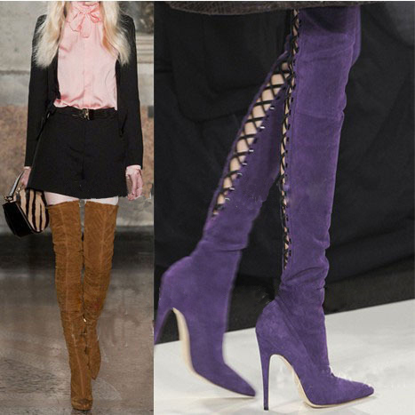 Purple Leather Thigh High Boots Promotion-Shop for Promotional ...
