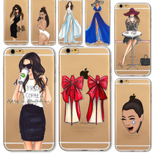 For iPhone 6 6S Plus 5 5S SE 6Plus Phone Case Cover Fashion High heel shoes Dress Shopping Girl Soft Silicon Mobile Phone Bag(China (Mainland))