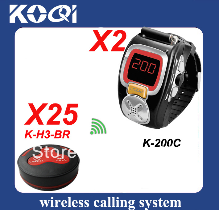 Wireless Service Bell with 25pcs table bell H3-BR and 2 watch receiver K-200C(China (Mainland))