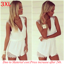 2015 Hot sale lace rompers womens jumpsuit new summer cute feminino vestidos female overalls playsuits Clothing