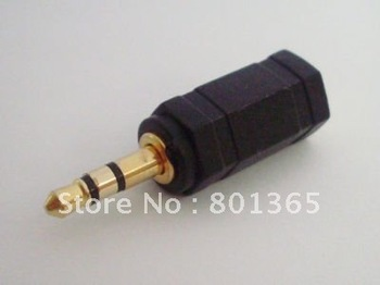 Fre shipping Stereo 3.5mm Gold male Plug to 2.5mm jack Female Audio Converter Adapter 100Qty