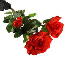 Energía Solar exterior paño de seda Rose flor de la lámpara LED luz paisaje impermeable para el jardín decoración de la casa rojo / blanco / color de rosa / amarillo(China (Mainland))