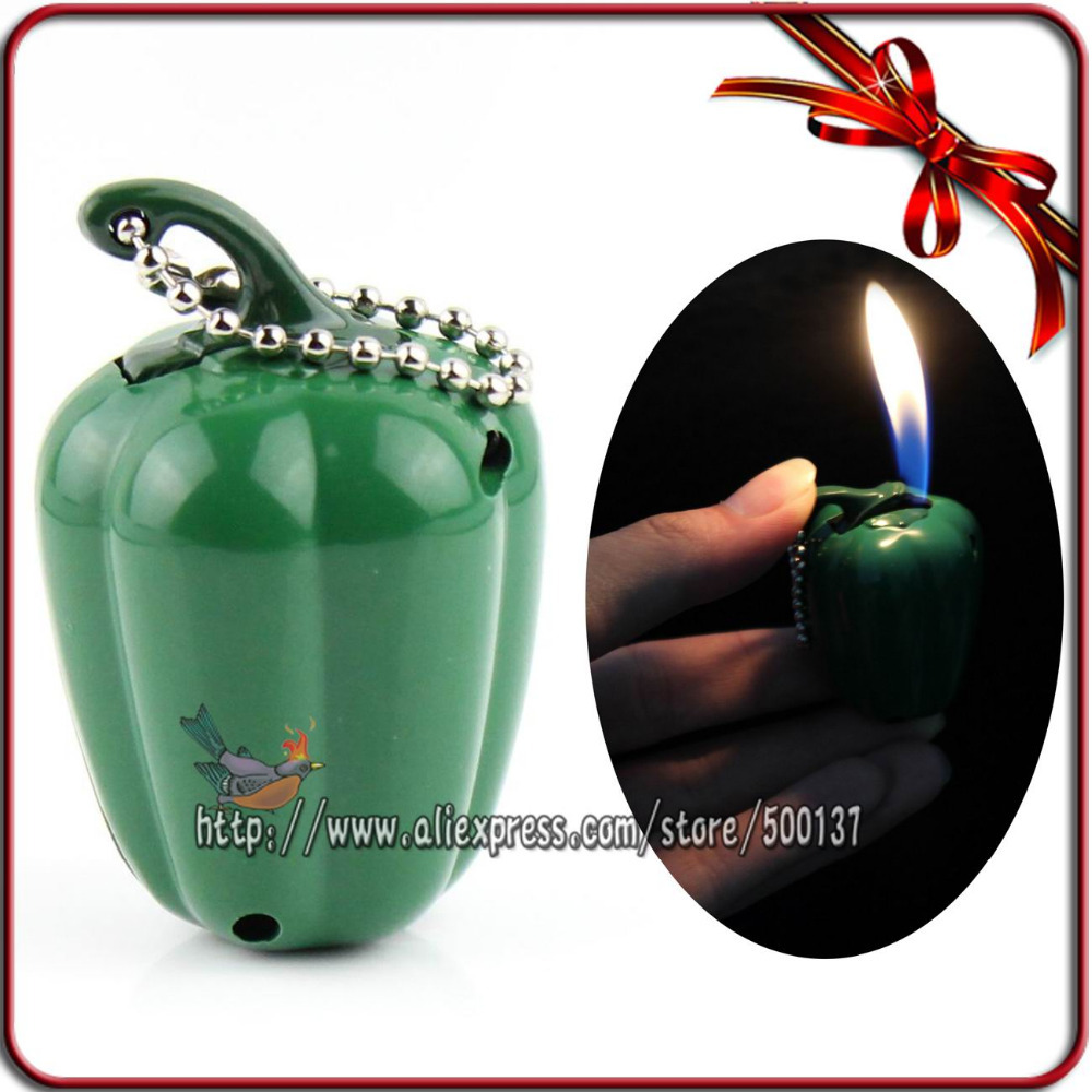 Cutie Mini Red/Green Pepper Style For Smoking Pipe Cigar Cigarette Pocket Butane Gas Lighter(China (Mainland))
