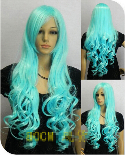 Long curly hair female fashion multicolor animation Cosplay light blue wig Lady Anime Party Peluca(China (Mainland))