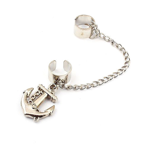 New Fashion Gold & Silver Anchor Earrings Women's Jewelry SE073(China (Mainland))