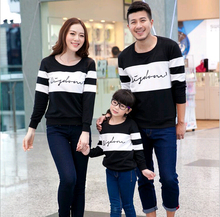 Family loading lovers Autumn new black and white stitching long-sleeved t-shirt printing Family Pack(China (Mainland))