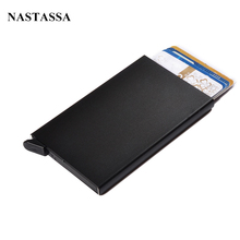 Thin Metal RFID Card Protector Cases Slim aluminium Credit Card Holder Wallet Automatic Pop Up Click Slide Card Holder(China (Mainland))