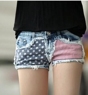 Summer Korean short true butt lift jeans United States flag womens denim name brand monos vaqueros mujer alta(China (Mainland))