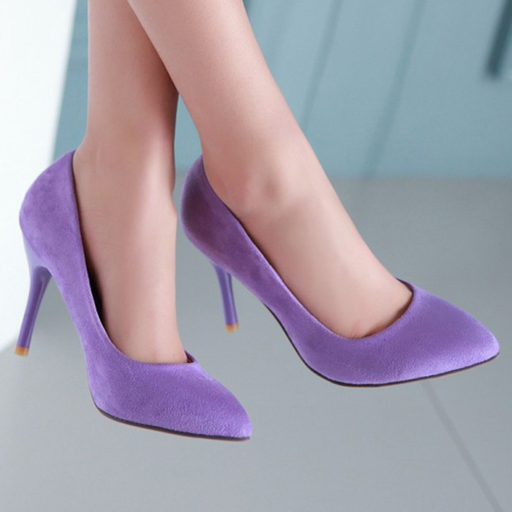 Red Bottom High Heels Ladies Shoes Flock Pointed Toe Women Pumps Shoes Woman Red Sole High