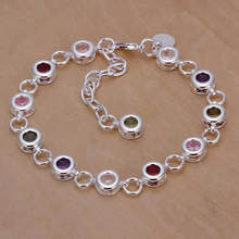 H259 Wholesale 925 sterling silver bracelet, 925 sterling silver style jewellery Spherical coloration stone bracelet dragon bijoux