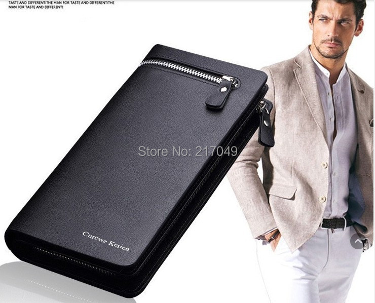 Free shipping fashion design leather men's wallet, business style brand men's long wallet zipper wallet clutch(China (Mainland))