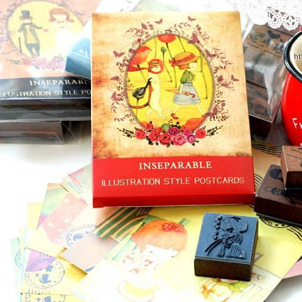 ZE trace Korea stationery bentoy cat and girl 4 * Chapter 32 postcards printed cards DIY combination(China (Mainland))