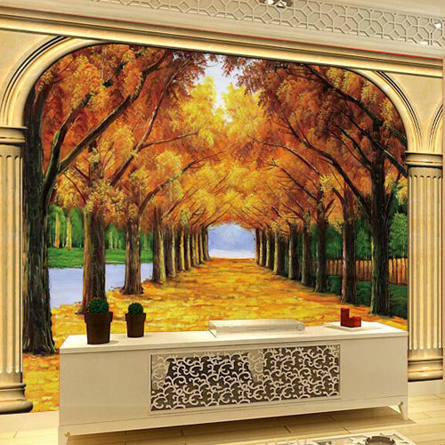 Large 3d photo wallpaper murals gold autumn for living for 3d interior wall murals