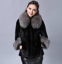 2015 Winter warm Women's Fashion Rabbit Fur Coat with Silver Fox Fur Collar Outwear Lady Garment Plus Size S-4XL(China (Mainland))