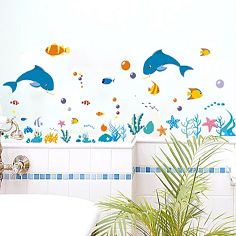 dolphin fish sea world wall sticker ocean fish shower tile stickers in the bathroom on bath bathing pool Bathtub XY8047(China (Mainland))