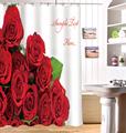 New 3D Shower Curtain for Bathroom Custom Love Rose Waterproof Washable Bath Curtains 12PCS C Type