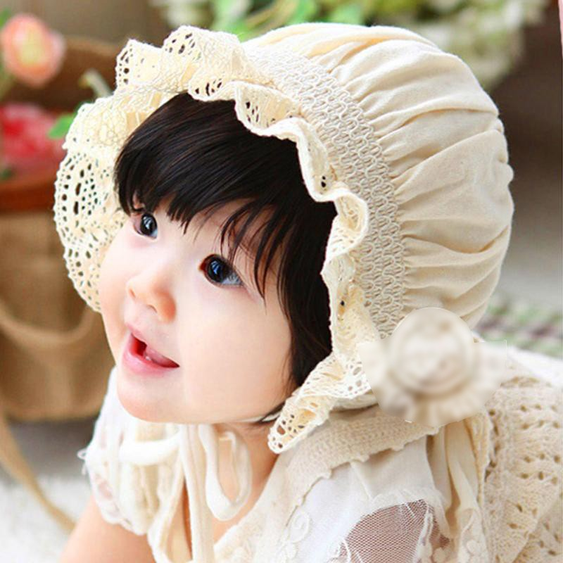 2016 Lovely Lace Cotton Baby Girls Summer Cool Cap Infant Toddlers Flower Sunhat Convenient Kids Photo Props Bonnet Lace-up Hat(China (Mainland))