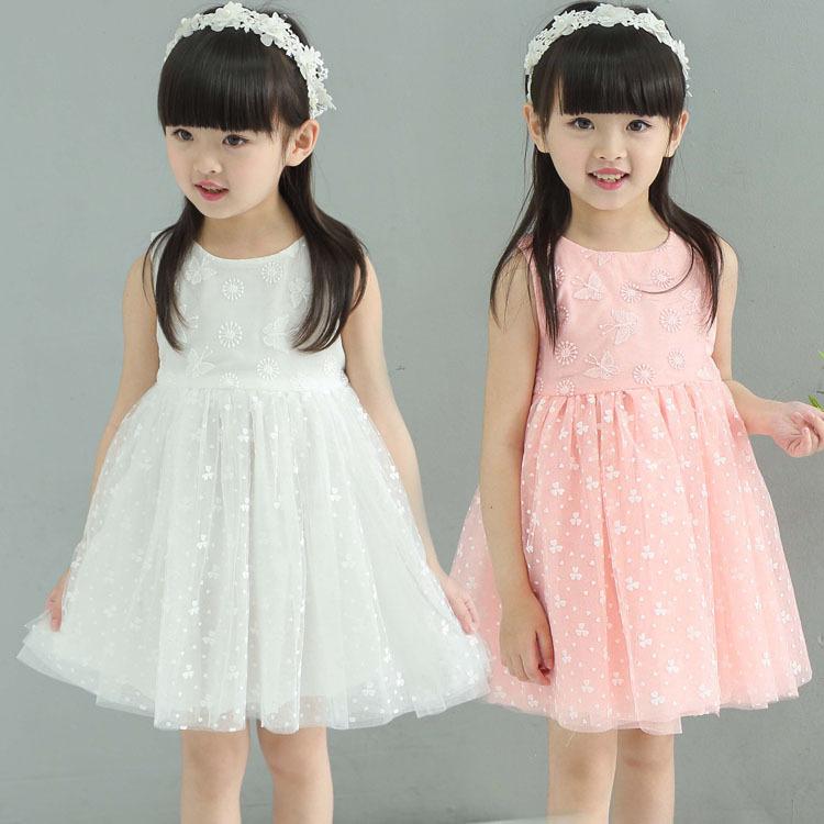 2016 New arrivals girls clothes flower girl dress pink/white baby girl rose dresses summer party dress girls tutu dress(China (Mainland))