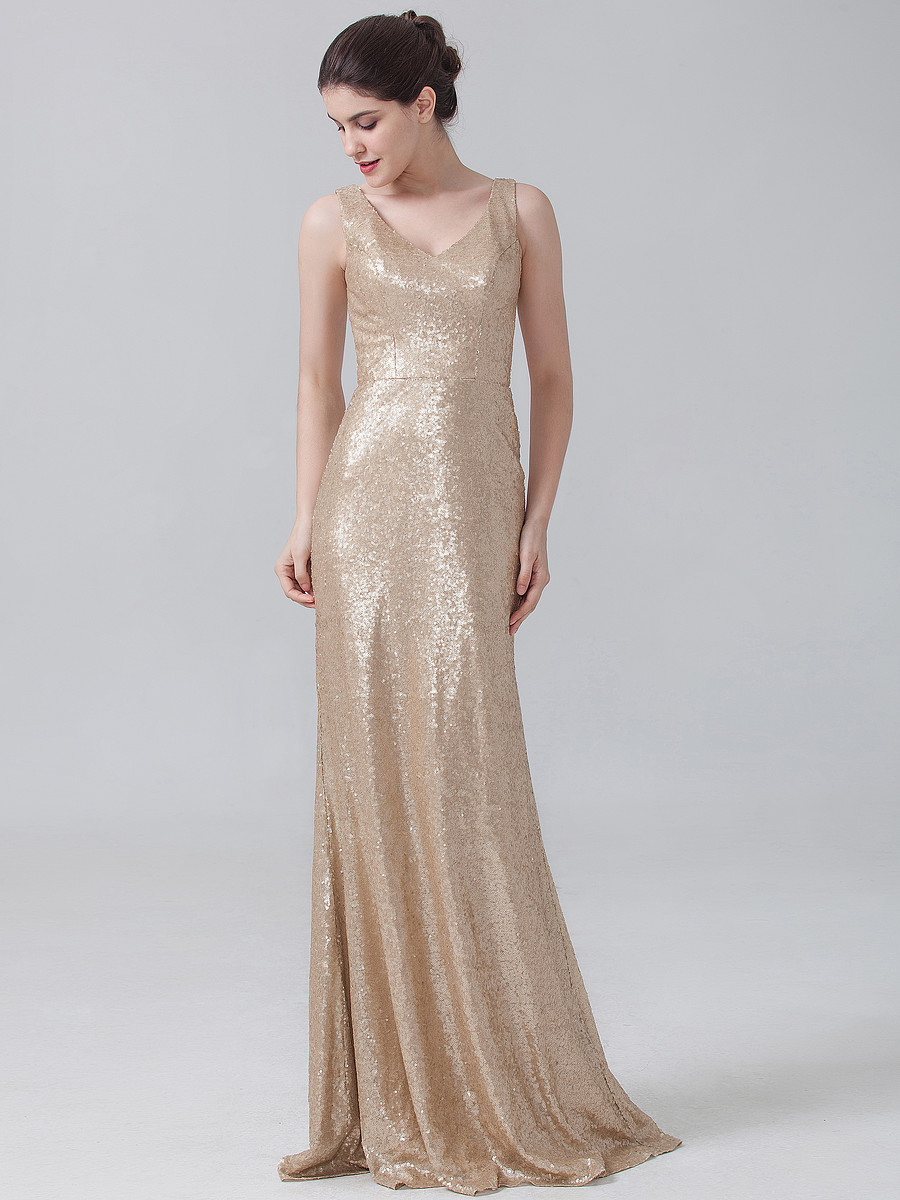 Champagne sequins bridesmaid dress 2016 sequins v neck for Maid of honor wedding dresses