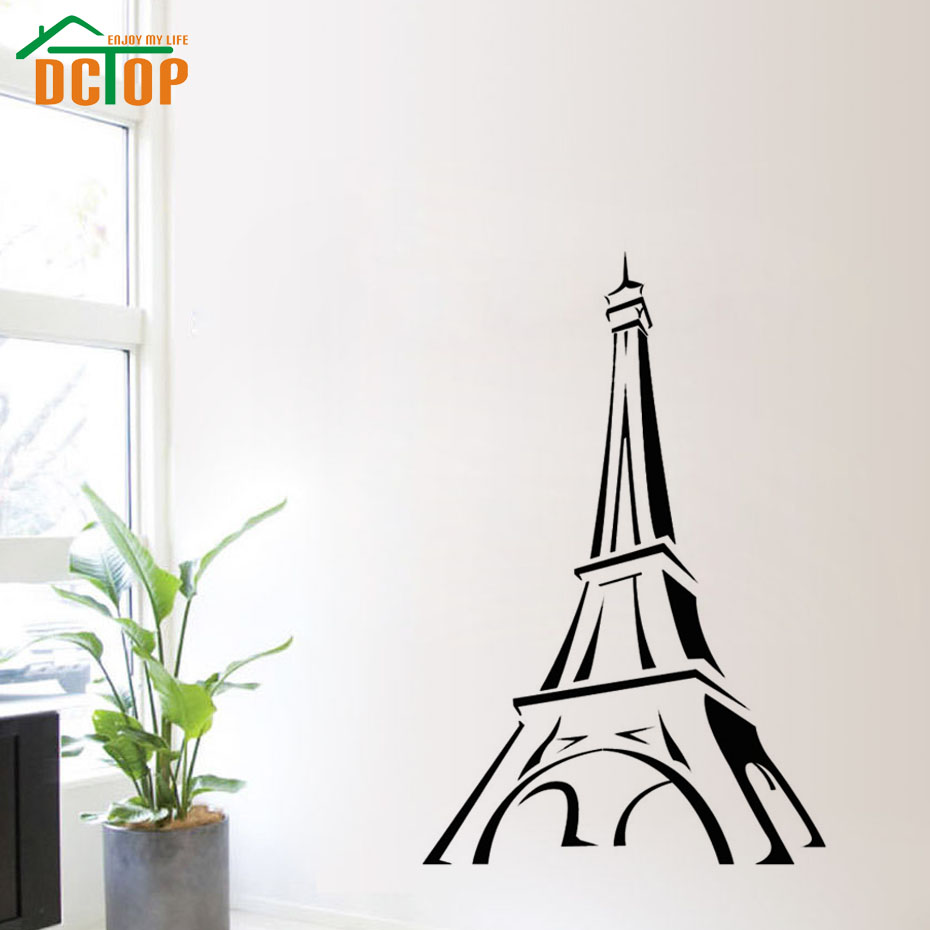 Promotion Paris Wall Decal Cartoon Eiffel Tower Wall Decor Sticker Living Room Hollow Out DIY Home Decoration(China (Mainland))